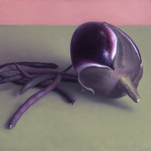 """Image of Amy Weiskopf's """"Eggplant and Purple Beans,"""" Oil on linen, 7 by 9 inches, painted in 2018."""