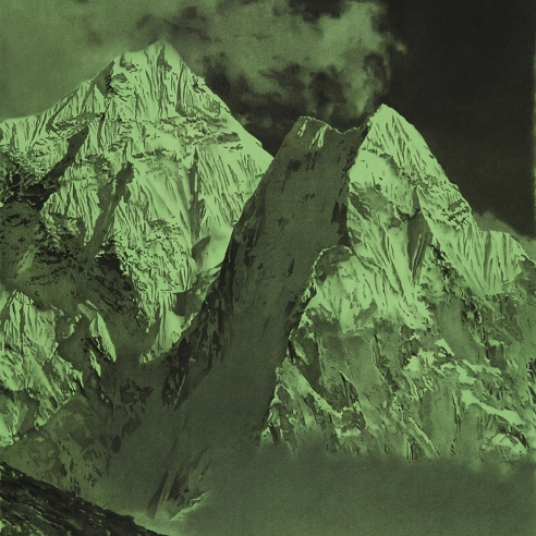 drawing of Mt. Everest on a painted green paper