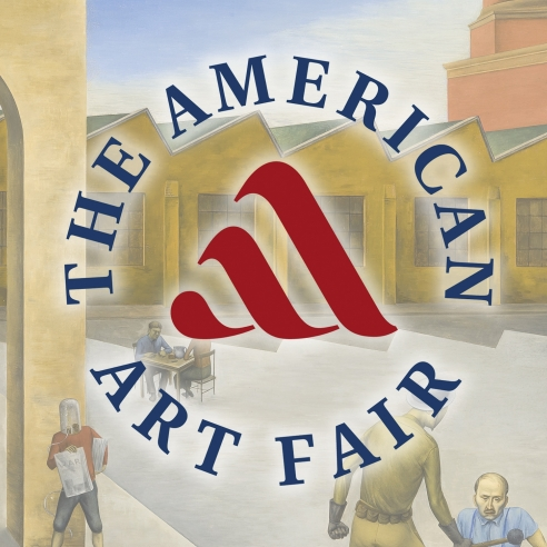 """Round logo for The American Art Fair superimposed over a ghosted detail of O. Louis Guglielmi's 1935 oil painting, """"The American Dream."""""""
