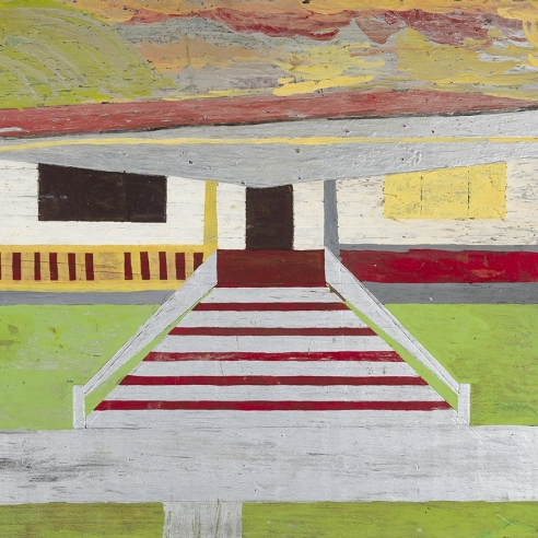 a painting of a house by Self-taught artist Frank Walter