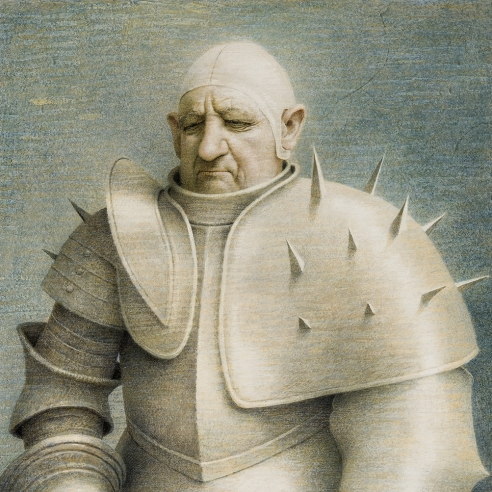 "ROBERT VICKREY (1926–2011), ""Clown in Armor,"" 1961. Egg tempera on gessoed panel, 33 1/2 x 23 7/8 in. Detail."