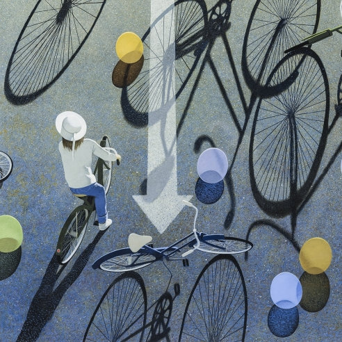 "ROBERT VICKREY (1926–2011), ""Eight Balloons, 1995. Egg tempera on gessoed panel, 22 1/4 x 27 1/2 in. Detail."