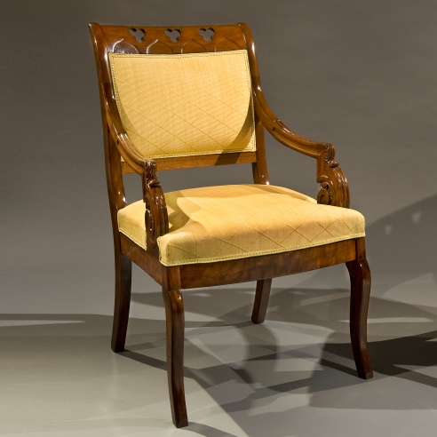 Pair Gothic Revival Armchairs, about 1835. American, probably New York. Walnut, 37 in. high, 23 7/8 in. wide, 22 3/4 in. deep. One of a pair.