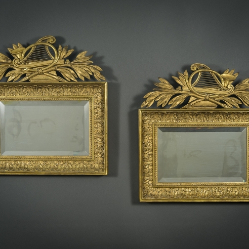 Pair Neo-Classical Mirrors with Musical Trophies