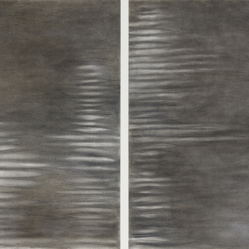 a diptych of abstract drawings by Elizabeth Turk of white discs stacked on top of each other