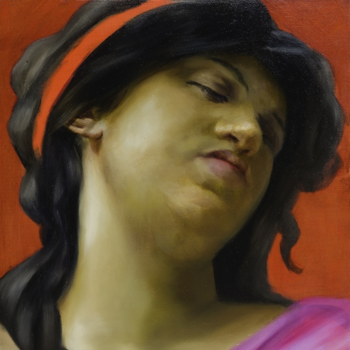 a high-key color, painting by Angela Fraleigh of a woman with eyes closed