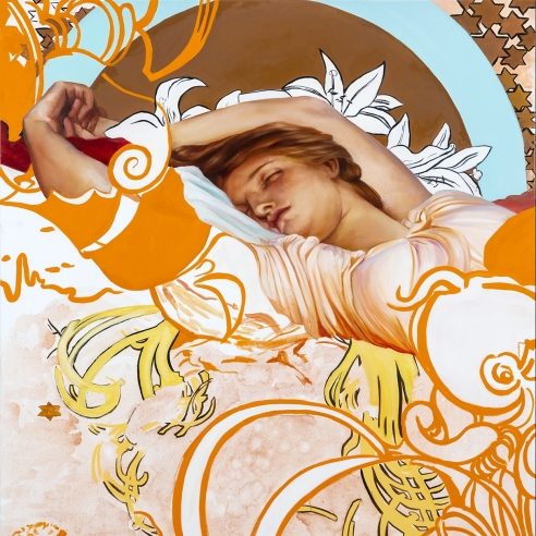 a painting by Angela Fraleigh of a sleeping woman within an Art Nouveau-patterned composition
