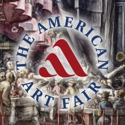"""REGINALD MARSH (1898–1954), """"Cabaret,"""" 1938. Tempera and pencil on gessoed panel, 35 3/4 x 23 3/4 in. with overlay of round logo for The American Art Fair."""