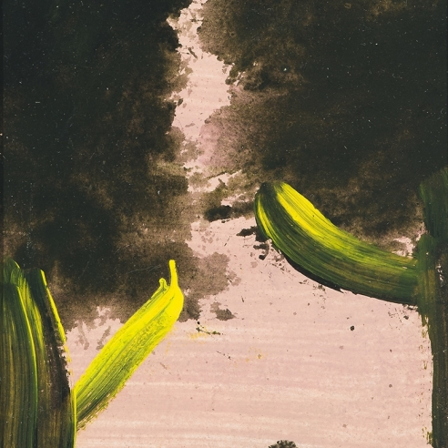 a painting by Frank Walter of two dark green and yellow trees with a pink sky between them