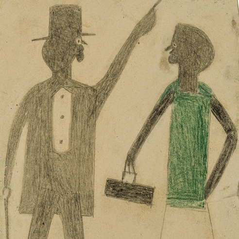 a portrait of a man wearing a top hat and a woman in a green blouse by self-taught artist Bill Traylor