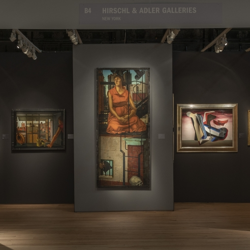 """Hirschl & Adler Galleries' booth installation at The Art Show 2020, showing (left to right) Jules Kirschenbaum, """"Young Woman at a Window""""; Jules Kirschenbaum, """"Beyond the Hope of Dreams""""; and Charles Howard, """"Bouquet"""""""