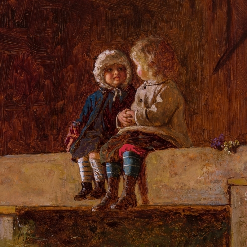 """EASTMAN JOHNSON (1824–1906), """"The Confab,"""" about 1877–78.  Oil on board, 22 x 12 1/4 in. Detail."""