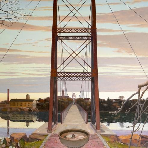 looking across a long footbridge