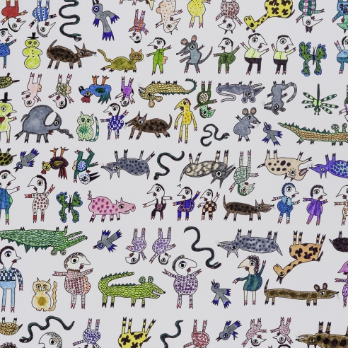 a drawing by self-taught artist Jeanne Brousseau of multiple figures and beasts arranged in a grid