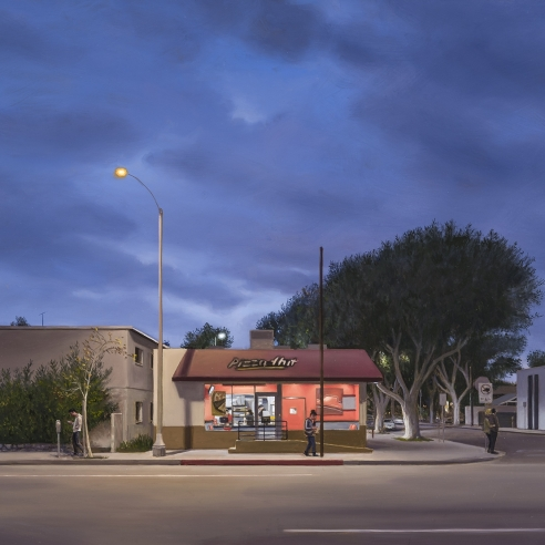 a highly realist painting by Marc Trujillo of fast food restaurant on a corner just after sunset