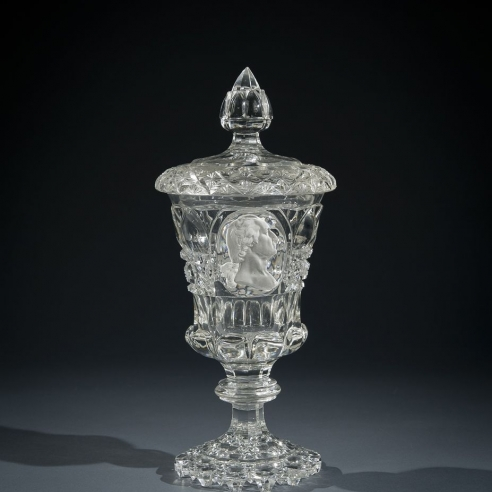 Clear Glass Covered Urn, or Pokal, with Sulphide Portrait of George Washington