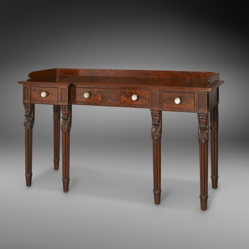Side Table with Figural Legs, about 1826. Edward Priestley, Baltimore (active 1802–37). Mahogany, with gilt-brass and cut-glass knobs 43 7/8 in. high, 40 3/4 in. high (to table surface), 75 13/16 in. long, 27 11/16 in. deep.