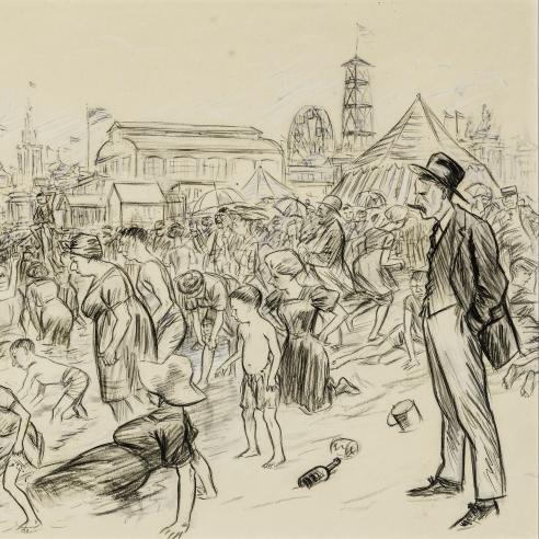 """WILLIAM GLACKENS (1870–1938), """"I Went Down to Coney for a Swim,"""" about 1907. Ink, charcoal, and gouache on paper, 13 1/2 x 17 in. (detail)."""