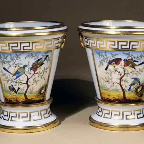 "Pair ""Old Paris"" Cache Pots with Bird Decoration"