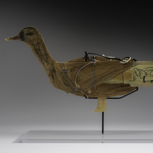 a paper construction/sculpture of a duck by self-taught artist James Castle