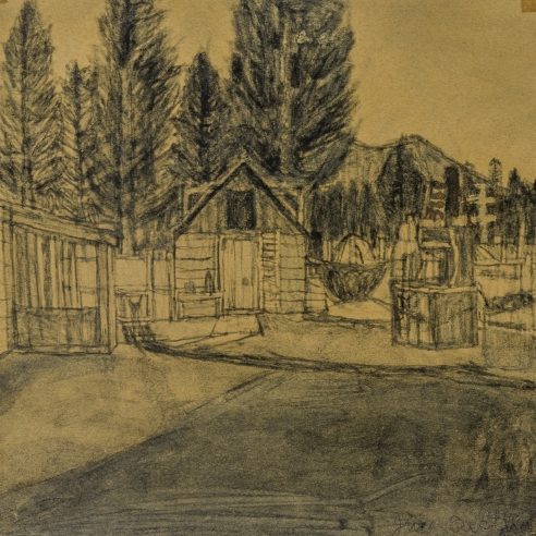 a soot-drawing by self-taught artist James Castle of his Garden Valley backyard with its ice-house