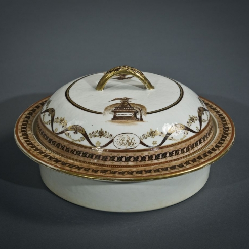 "Chinese Export Porcelain Covered Bowl from the Joseph R. Sims ""Washington Memorial"" Service"