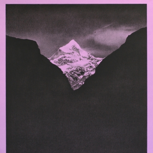a drawing by Andy Mister of a mountain range on a hot purple background with a hot purple border