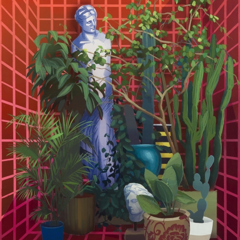 a painting by Robert Minervini of a plants, cactii and Greek sculpture in a futuristic, red niche