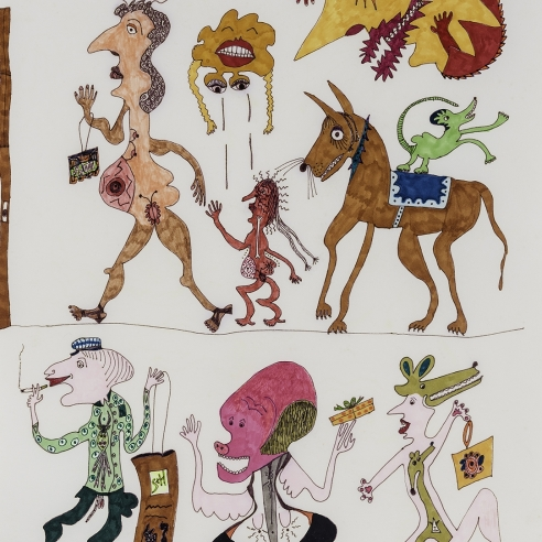 a fantastical drawing of figures and animals walking by self-taught artist Jeanne Brousseau