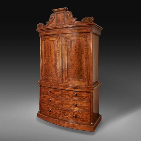 Neo-Classical Linen Press, about 1825–28. Boston, likely under the supervision of Thomas Seymour (1771–1848). Mahogany, with brass hinges and keyhole escutcheons, 96 3/4 in. high, 55 1/4 in. wide, 24 1/2 in. deep