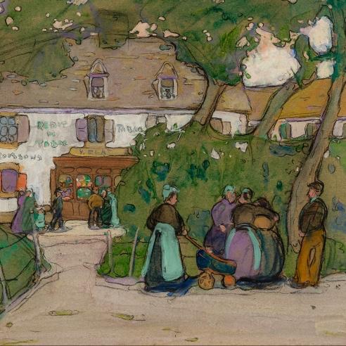 "Jane Peterson (1876–1965), ""Village Gossips, Brittany,"" c. 1908–10. Gouache on paper, 18 x 23 1/2 in. (detail)."