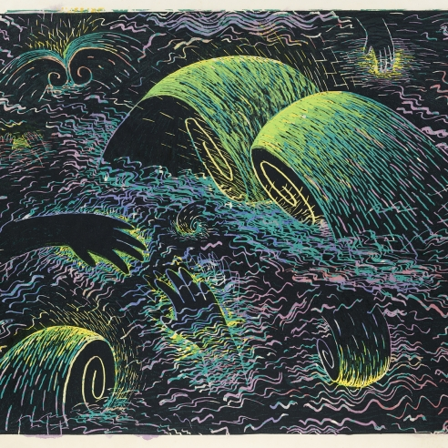 Image of Louisa Chase's Untitled (Black Sea) from 1983. Color woodcut with watercolor on Japanese fiber paper, 33 1/2 by 38 7/8 inches.