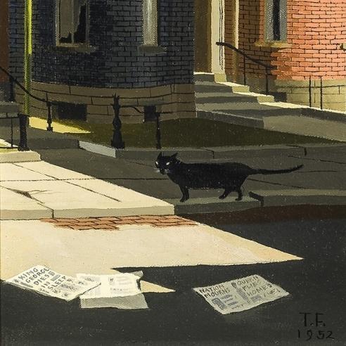 """THOMAS FRANSIOLI (1906–1997), """"King George Dies,"""" 1952. Oil on canvas, 8 1/4 x 6 1/4 in. (detail)"""