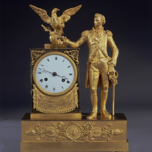 Clock with Full-length Figure of George Washington
