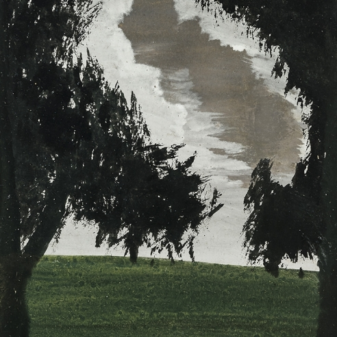 a painting by Frank Walter of two black trees with a threatening gray sky between them