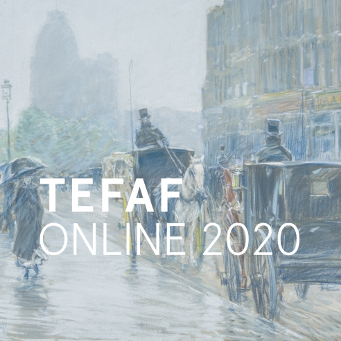 TEFAF Online 2020 logo superimposed over a ghosted image of CHILDE HASSAM (1859–1935), A Wet Day on Broadway, 1891. Pastel on paper mounted to fine-weave linen, 18 x 21 7/8 in. (detail).