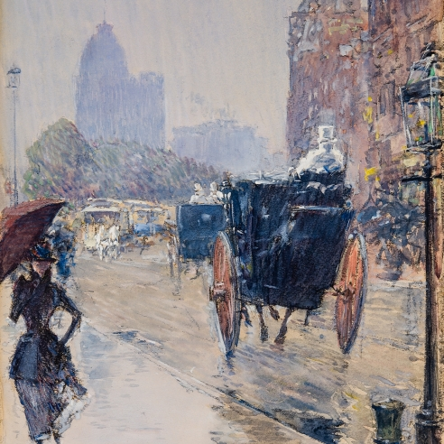 """CHILDE HASSAM (1859–1935), """"New York Street Scene (Rainy Day, New York),"""" 1892. Watercolor, gouache, and charcoal on paper, 15 x 10 1/4 in. (detail)."""