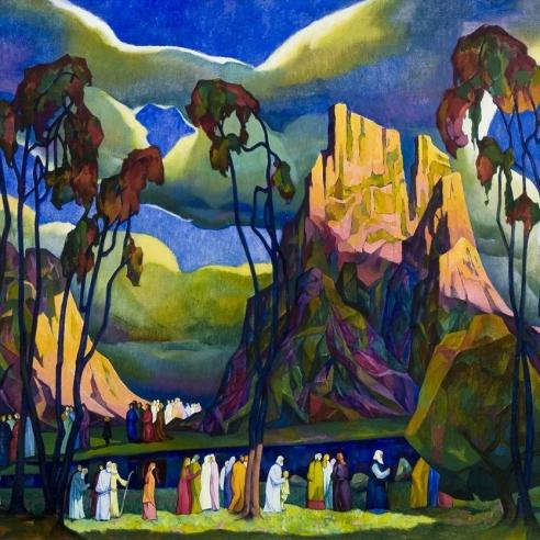 WILLIAM SAMUEL SCHWARTZ (1896–1977), The Pioneers, 1924. Oil on canvas, 34 x 51 3/4 in. (detail).
