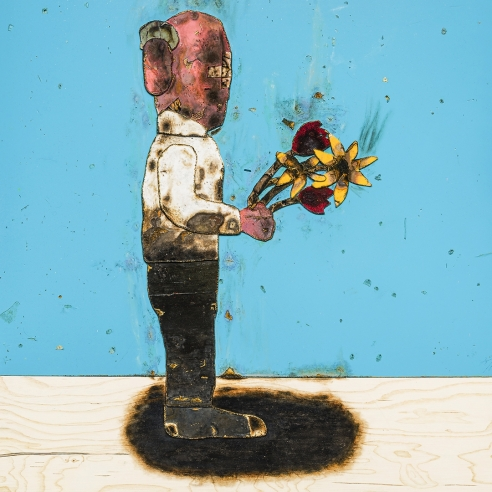 trompe l'oeil oil painting of a burned cartoonish man holding flowers