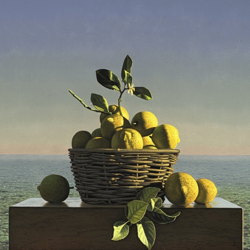 still life painting of a basket of lemons on a wooden box by the sea