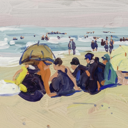 "JANE PETERSON (1876–1965), ""Beach Scene,"" c. 1916–20. Gouache on paper, 9 x 12 in. (detail)."