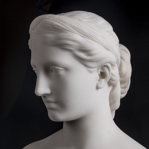 HIRAM POWERS (1805–1873), Proserpine, 1849. Marble, 15 in. high x 9 1/2 in. wide x 6 in. deep (detail).