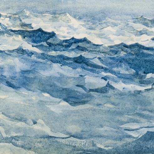 """WINSLOW HOMER (1836–1910), """"Light Blue Sea at Prout's Neck,"""" about 1893–94. Watercolor on paper, 13 1/4 x 19 in."""