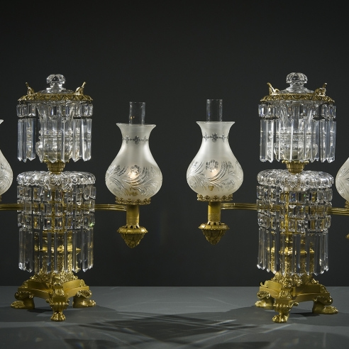 Pair Double Argand Lamps