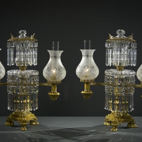 Pair Double Argand Lamps