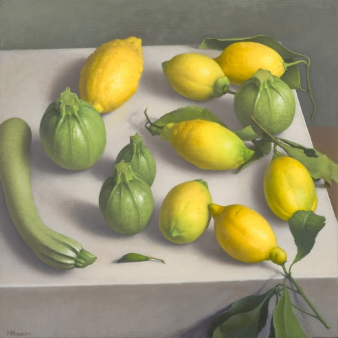 "Image of Amy Weiskopf's ""Zucchini and Lemons,"" oil on linen, 14 by 14 inches, painted in 2018."