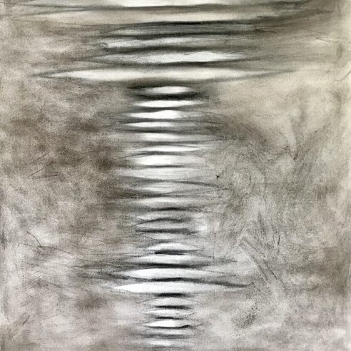 an abstract drawing by Elizabeth Turk of white discs layered on top of each other
