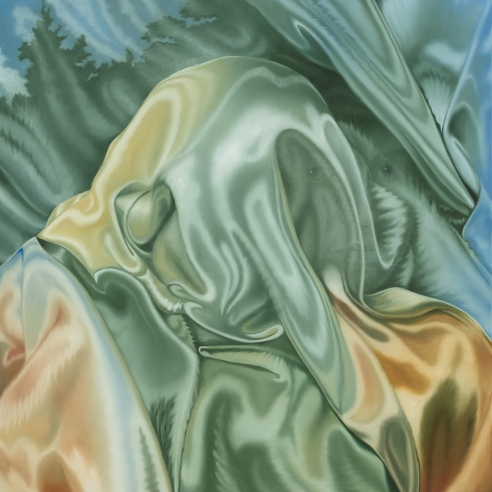 a painting by Jenny Morgan of a face hidden by silky fabric and landscape