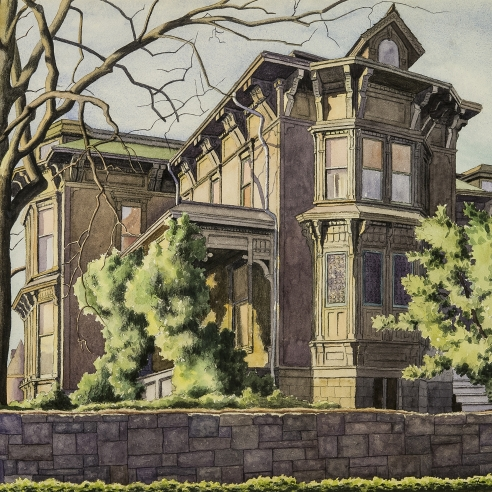 Z. VANESSA HELDER (1903–1968), Old T. T. Minor House, First Hill, Seattle, c. 1939. Watercolor on paper, 19 x 22 3/4 in. (detail).