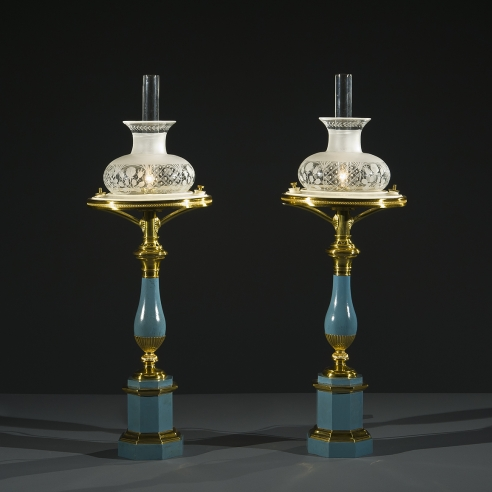 Pair Blue Tole Sinumbra Lamps